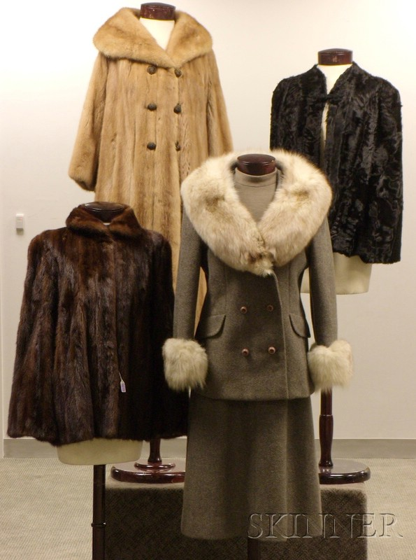 Three Vintage Fur Coats/Capes and a Vintage Fox-Trimmed Gray Wool Suit