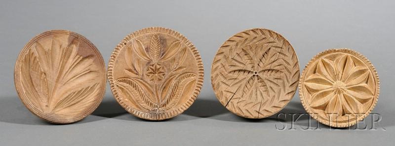 Four Wooden Butter Prints