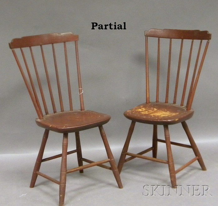 Set of Six Windsor Brown-painted Step-down Side Chairs.