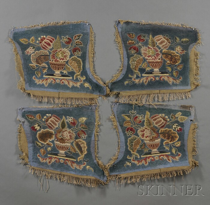Four Urn of Flowers Needlepoint Seat Covers