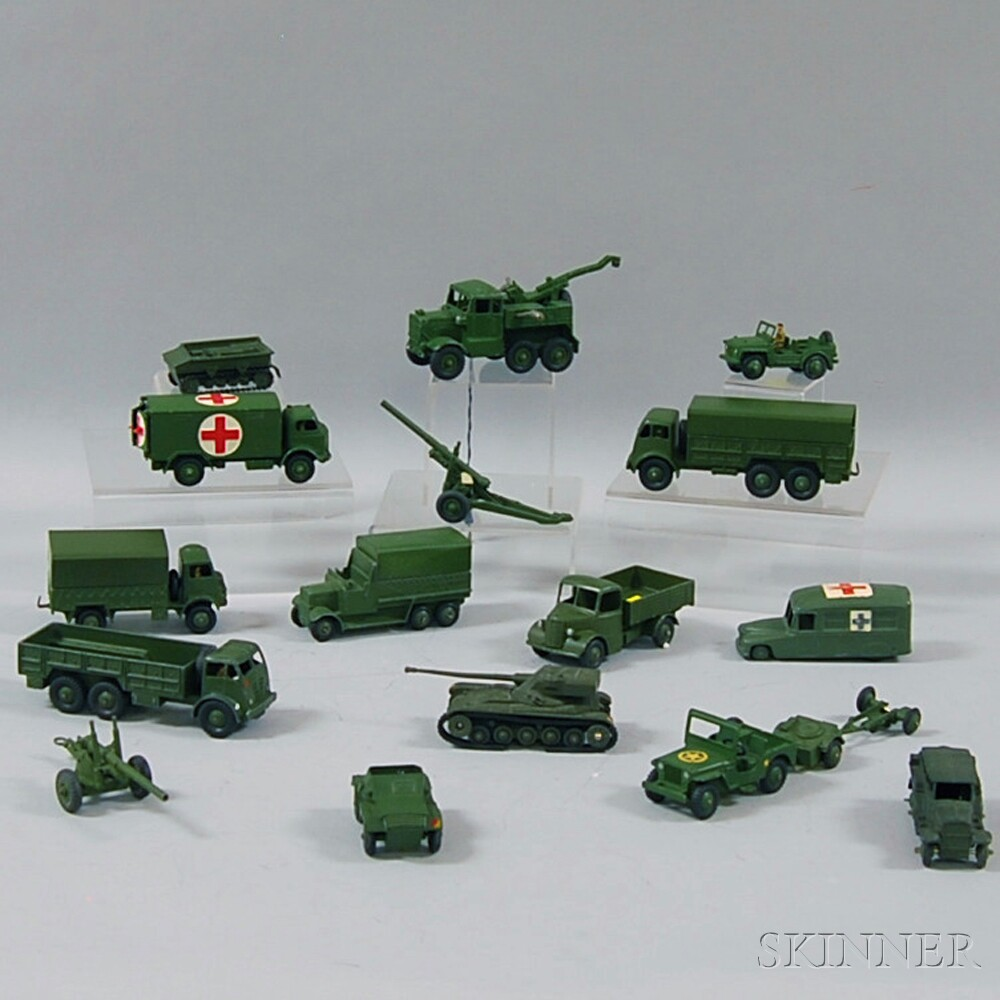 Sixteen Meccano Dinky Toys Die-cast Metal Military Vehicles