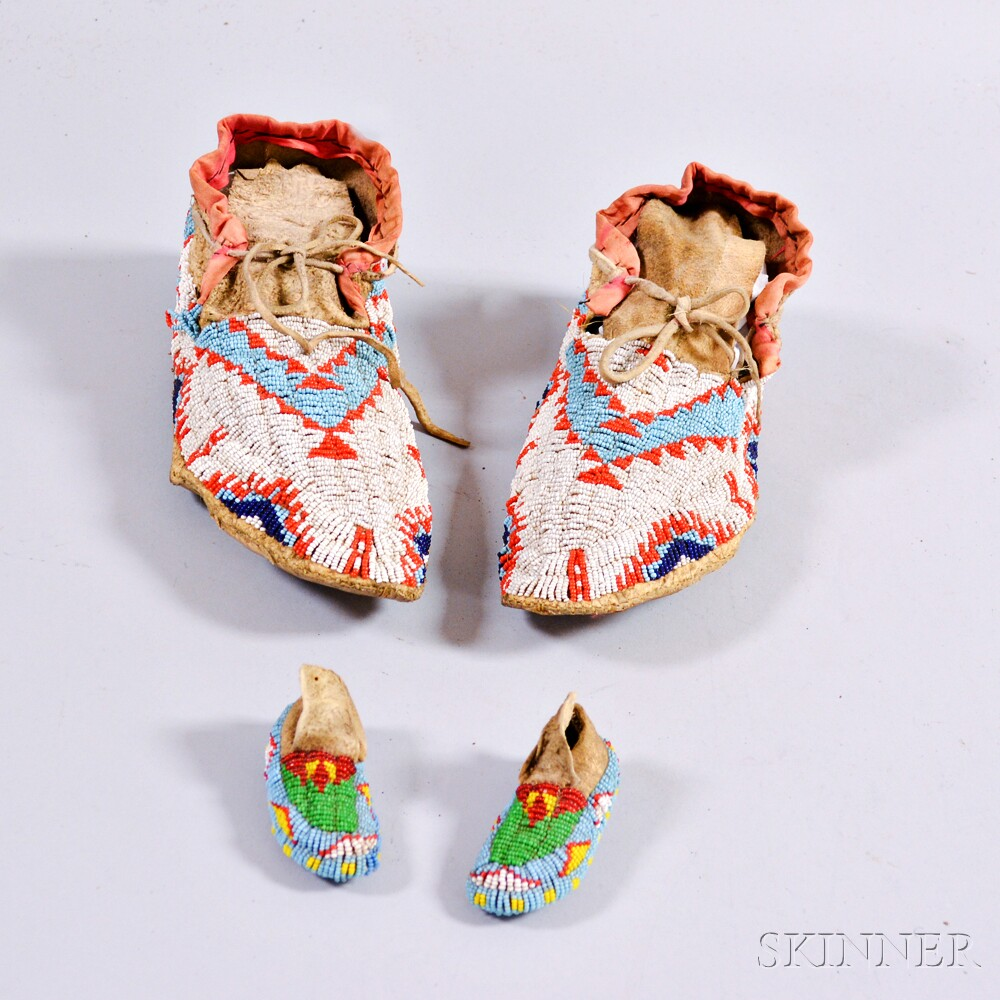 Two Pairs of Plains Indian Moccasins