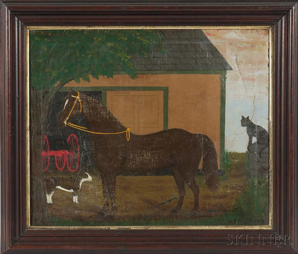 American School, 19th Century      Portrait of a Horse with Cat and Dog in Front of a Barn