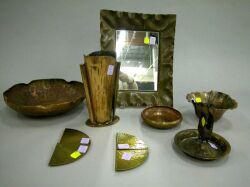 Seven Hammered Copper Arts & Crafts Items