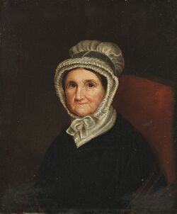 American School, 19th Century  Portrait of a Woman in a Red Chair