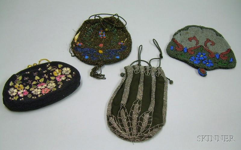 Two Art Deco Beaded Silk Drawstring Purses, a Modern Beaded Purse, and a Fragmentary   Beaded Purse