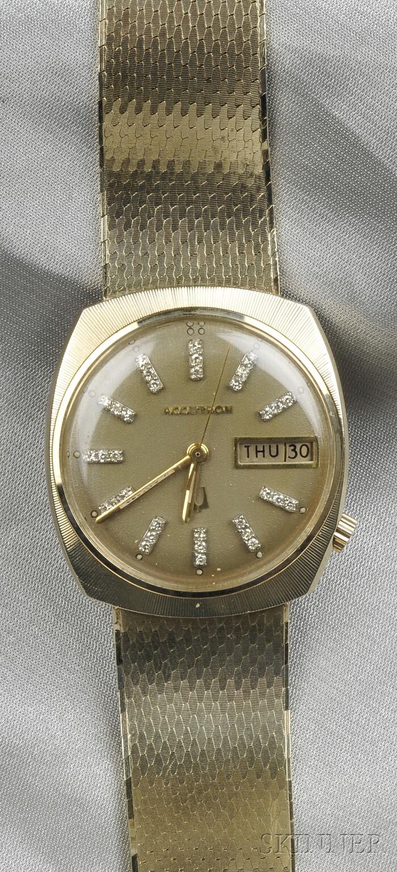 "14kt Gold and Diamond ""Accutron"" Wristwatch, Bulova"