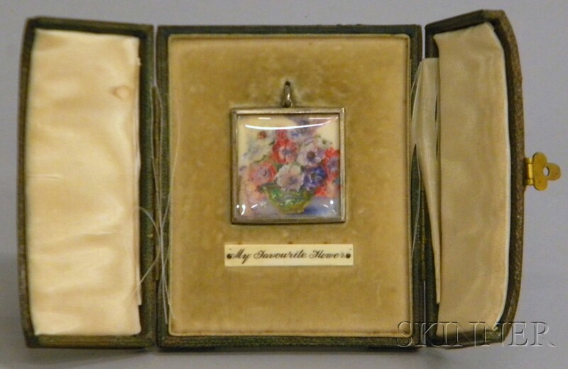 English Miniature Hand-painted Still Life on Celluloid My Favourite Flower