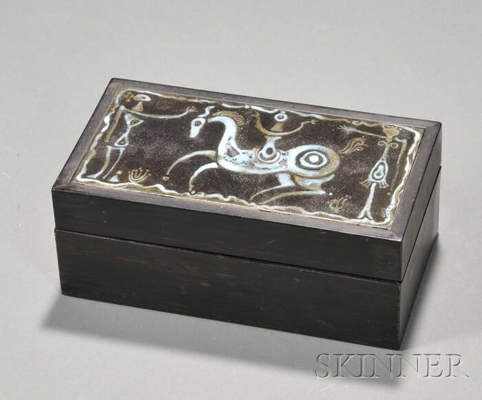 Mid-century Design Glazed Pottery and Ebony Trinket Box
