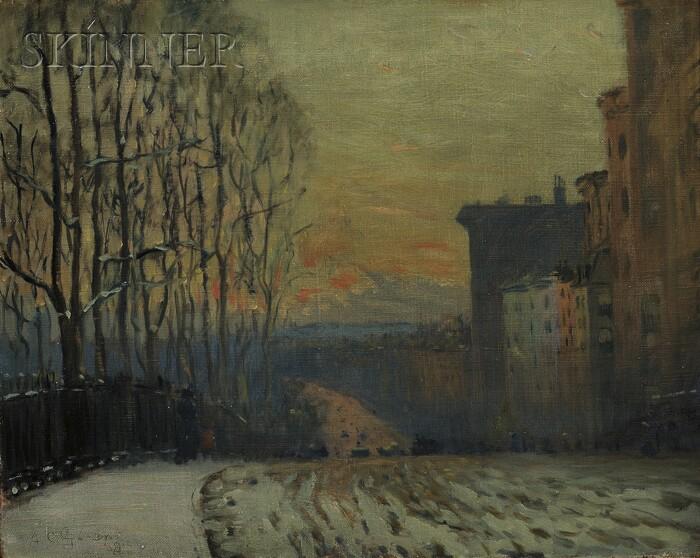 Arthur Clifton Goodwin  (American, 1864-1929)      Beacon Street in Winter