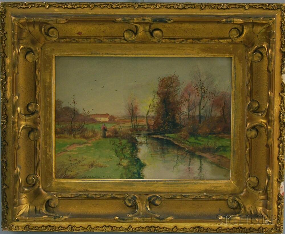 Dubois Fenelon Hasbrouck (American, 1860-1934)      Wood Gatherer in a Polder Landscape.