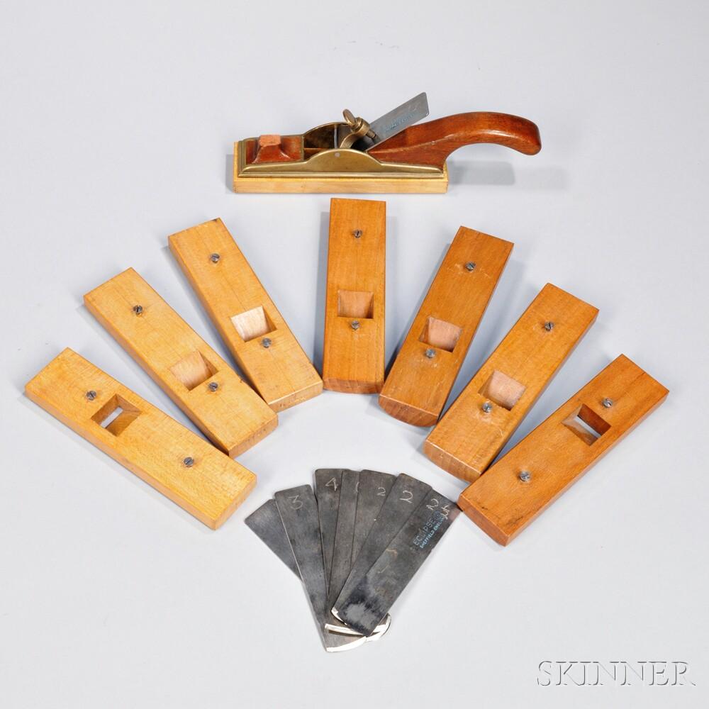 P. Hodgkinson Brass and Mahogany Interchangeable Radius Hand Plane