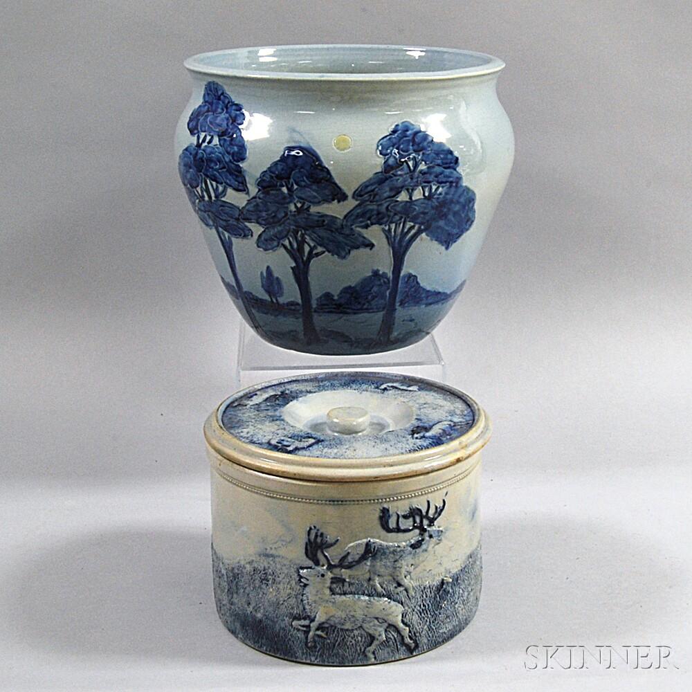 Two Cobalt-decorated Ceramic Vessels