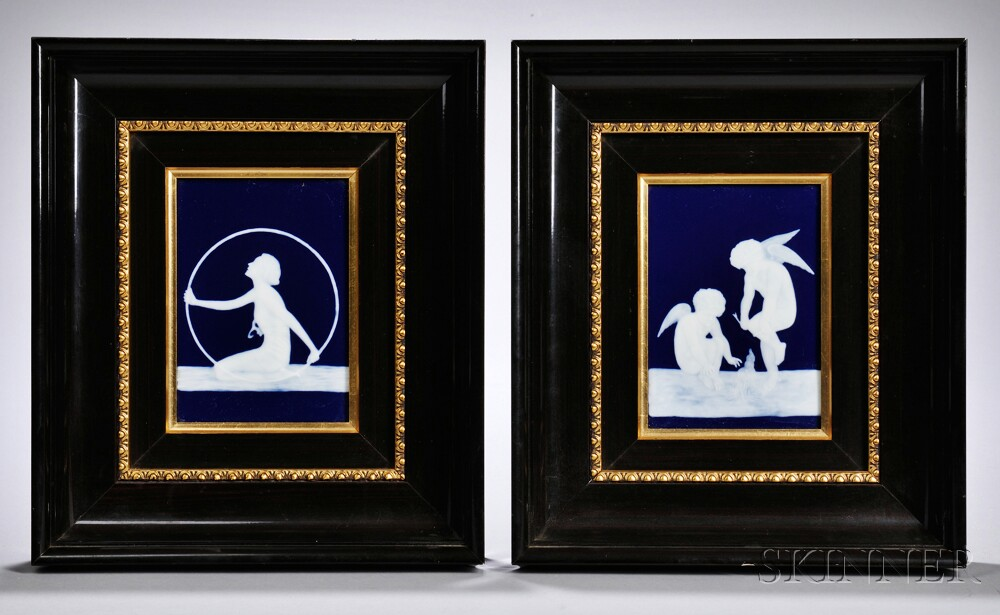 Pair of French Pate-sur-Pate Decorated Porcelain Plaques