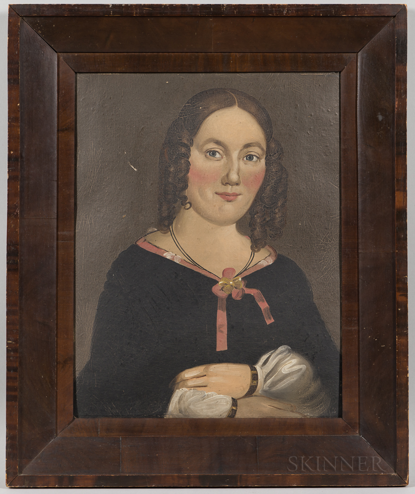 Prior/Hamblen School, Mid-19th Century      Portrait of a Woman with Pink Bow