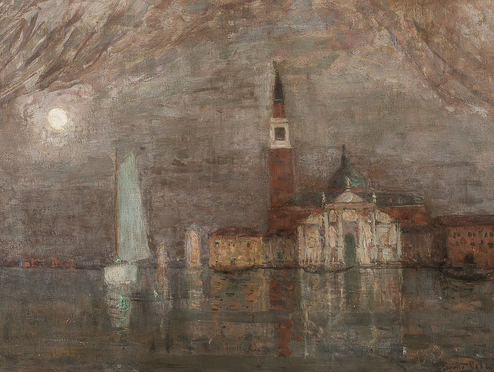 Eugène Laurent Vail (American/French, 1857-1934)      San Giorgio Maggiore in Moonlight, a Study