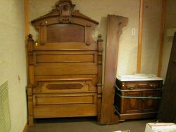 Renaissance Revival Walnut Bed and White Marble-top Commode.