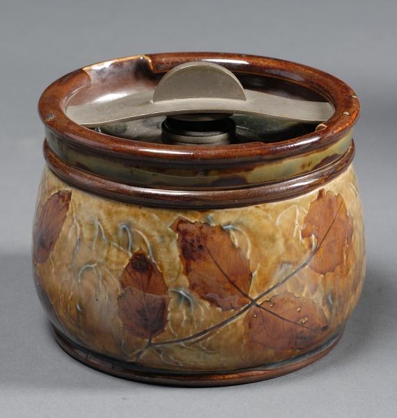 "Royal Doulton Stoneware ""Leaf"" Tobacco Jar"