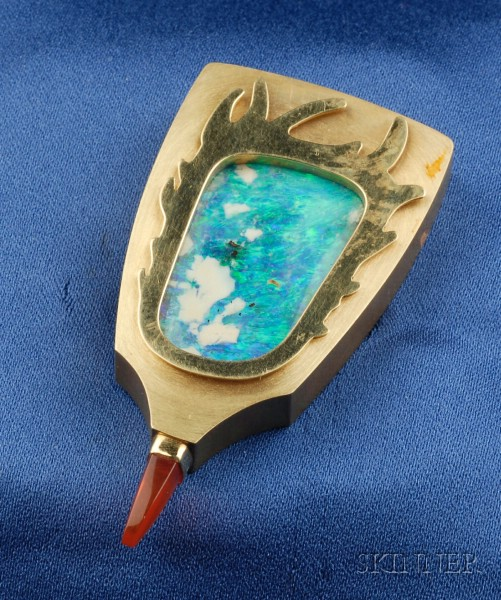 18kt Gold and Black Opal Brooch