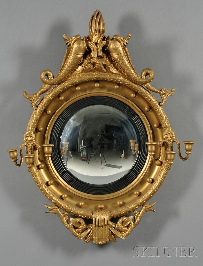 Regency Gold-painted Convex Mirror