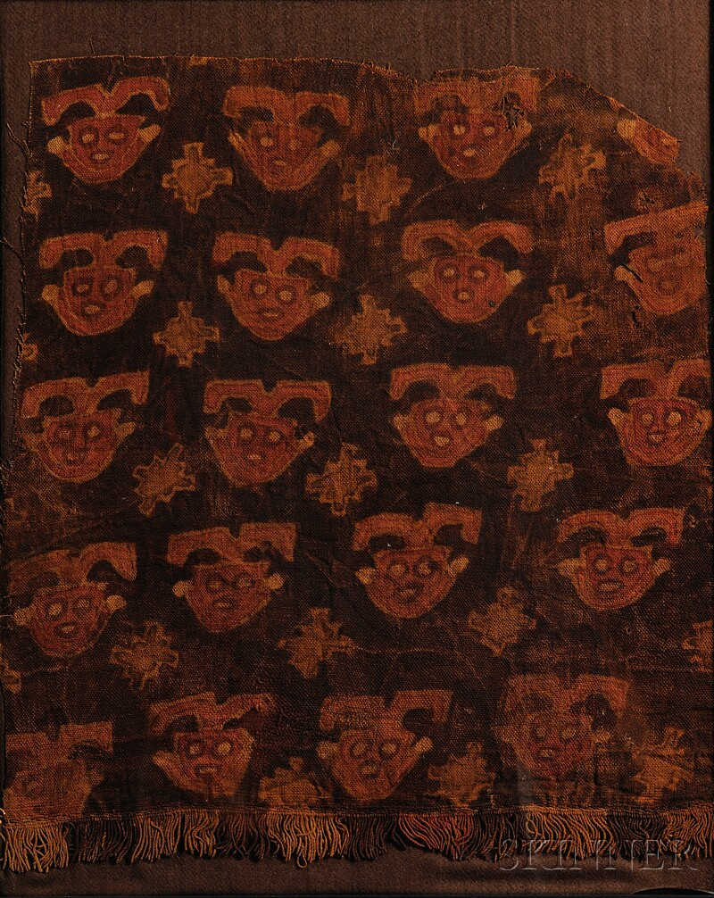 Peruvian Pre-Columbian Painted Textile Fragment