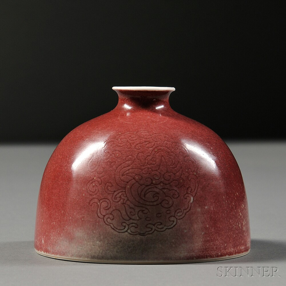Red-glazed Porcelain Water Coupe