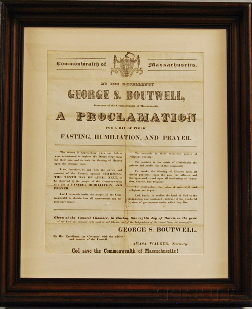 Framed George S. Boutwell Proclamation for Fasting, Humiliation, and Prayer