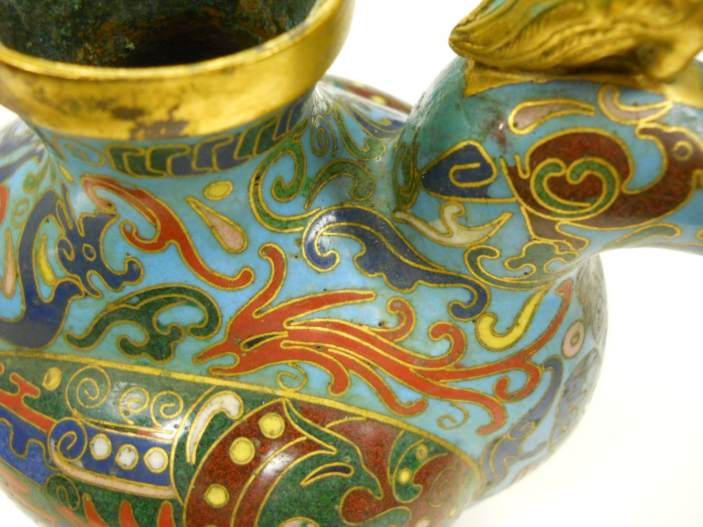 Cloisonne Duck-shaped Ewer