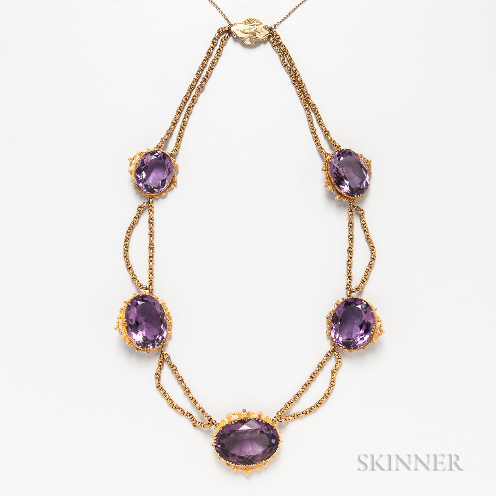 Victorian 14kt Gold and Amethyst Necklace