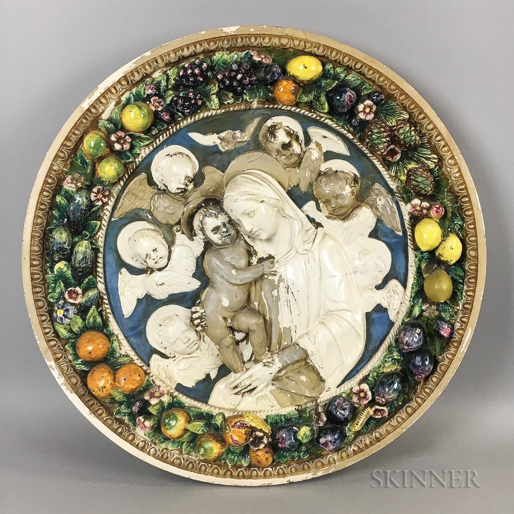 Italian Della Robbia Glazed Ceramic Roundel of the Madonna and Child