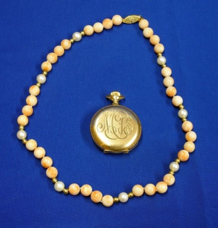 Coral, Pearl, and Gold Bead Necklace and an Elgin Gold-Filled Pocket Watch