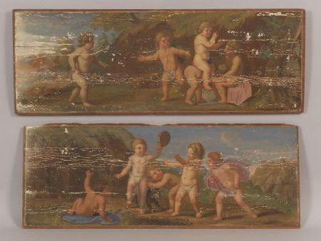 Continental School, 19th Century    Lot of Two Panels: Frolicking Putti.