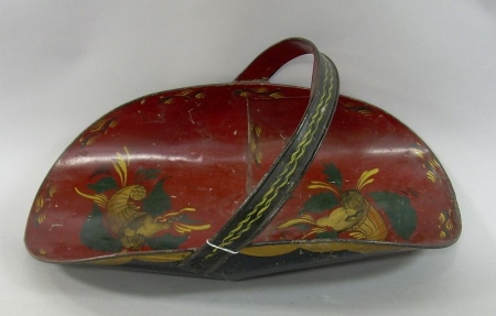 Painted Cornucopia Decorated Tin Wood Carrier.