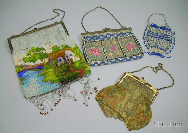 Three Beaded Purses and a Whiting and Davis Dresden Mesh Purse.
