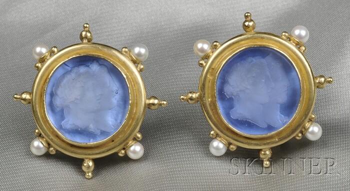 18kt Gold, Cultured Pearl, and Venetian Glass Intaglio Earclips, Elizabeth Locke