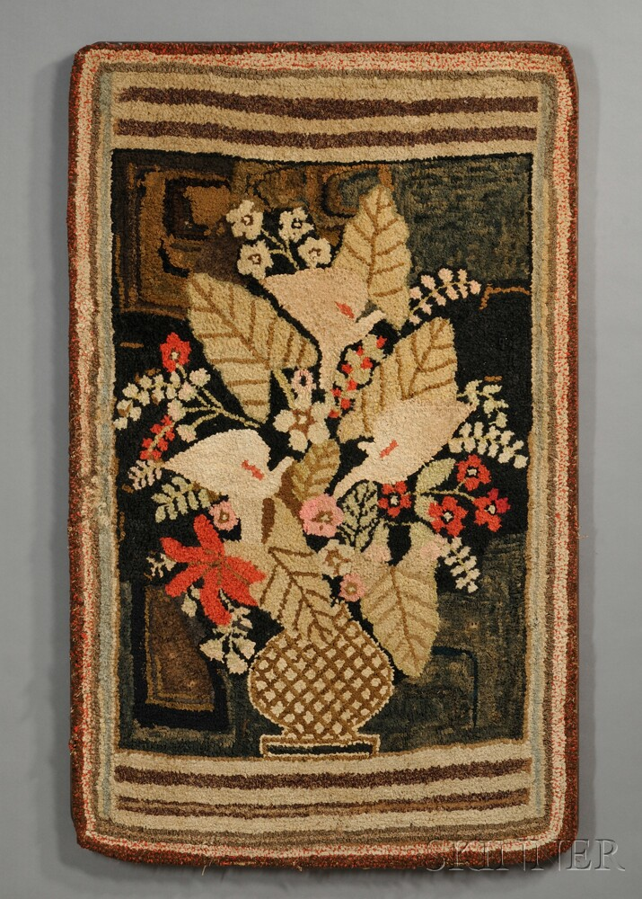 Pictorial Hooked Rug Depicting a Vase of Flowers