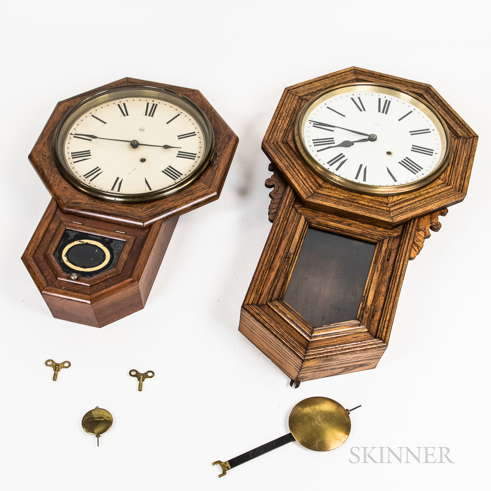Three Drop Octagonal Schoolhouse Clocks