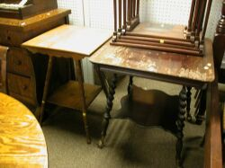 Late Victorian Stained Occasional Table with Gilt-metal Talon and Glass Ball Feet and an Oak Table.
