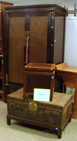 Pair of Chinese Wooden Footed Storage Boxes with Covers, a Pair of Asian Husk Leaf-clad Boxes, and a Chinese Ha...