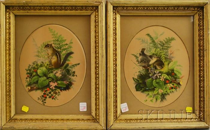 Two Framed Signed L. Prang & Co. Chromolithographs of Birds and Chipmunks