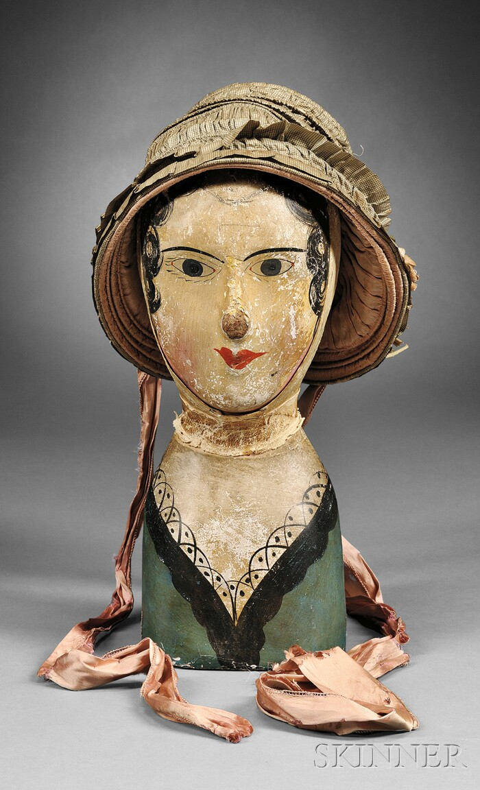 Papier-mache Milliner's Model with a Silk Hat