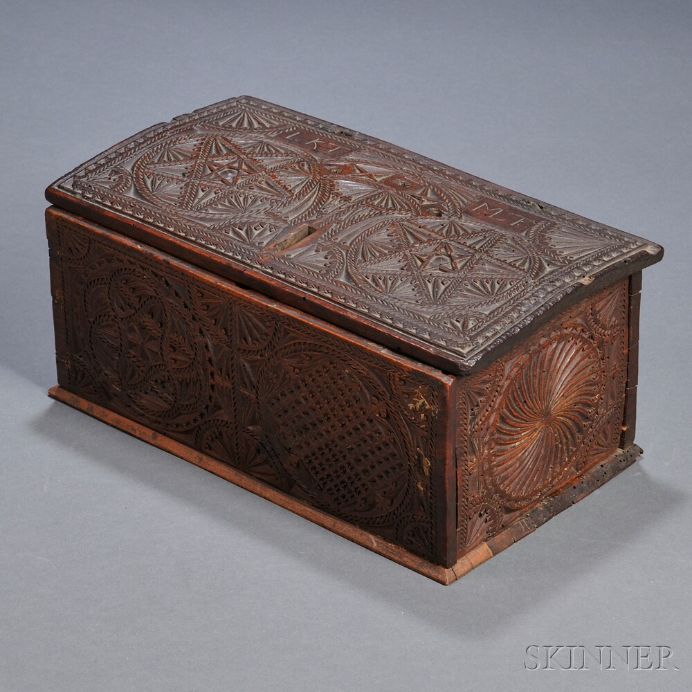 Relief carved mahogany document box sale number b