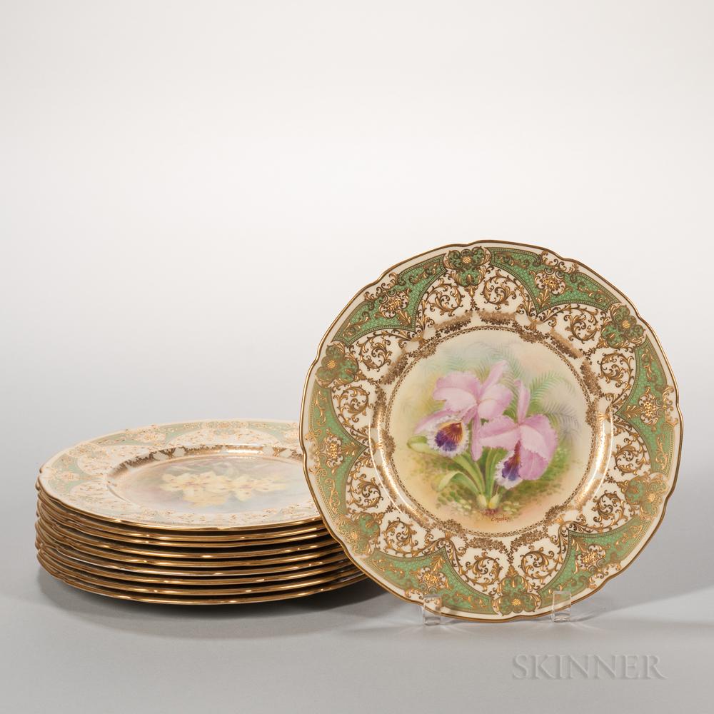 Ten Lenox China Hand-painted Botanical Plates