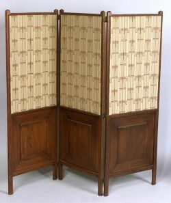 Arts & Crafts Oak and Textile Screen