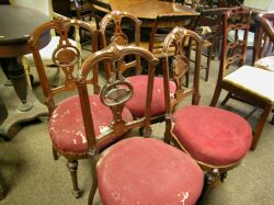 Set of Four Renaissance Revival Upholstered Walnut Parlor Side Chairs.