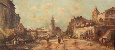 Jules Henri Veron-Fare (French, fl. 1836-1870)    The Market Begins to Stir