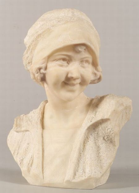 Italian Alabaster Bust of a Girl