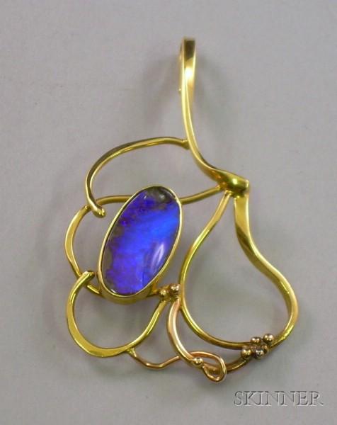 16kt Yellow and 14kt Rose Gold and Boulder Opal Artist-designed Pendant.