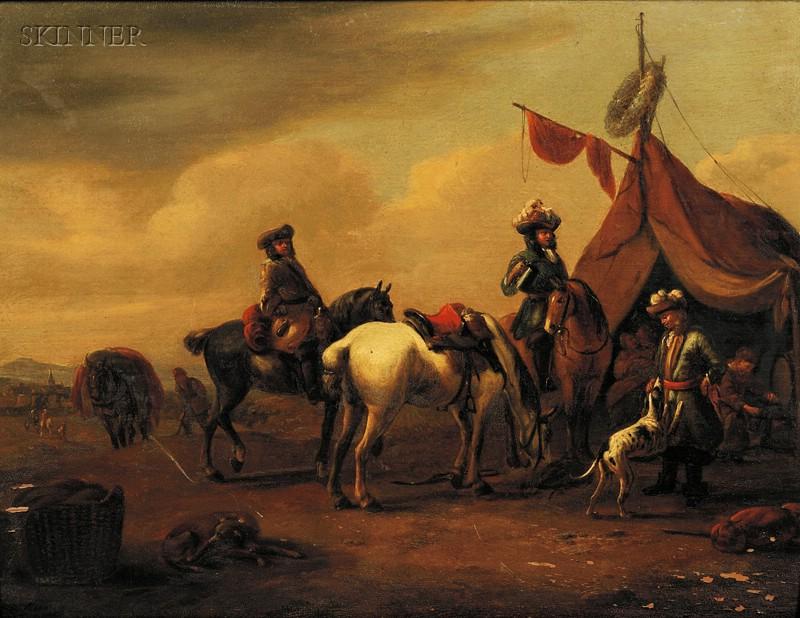 Attributed to Jan van de Venne (Flemish, d. circa 1651)      Meeting of the Huntsmen