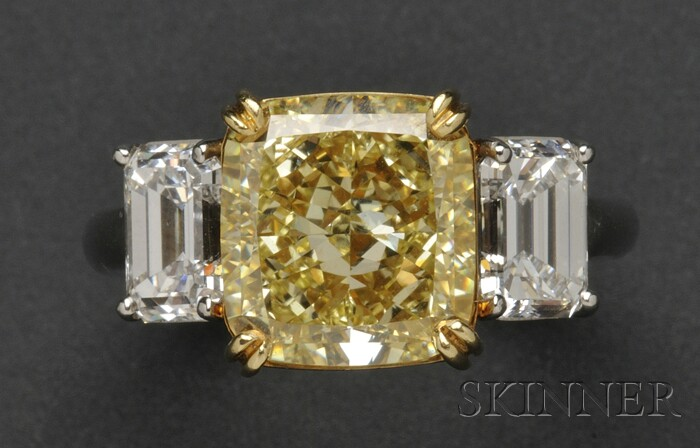 Platinum and Fancy Yellow Diamond Solitaire
